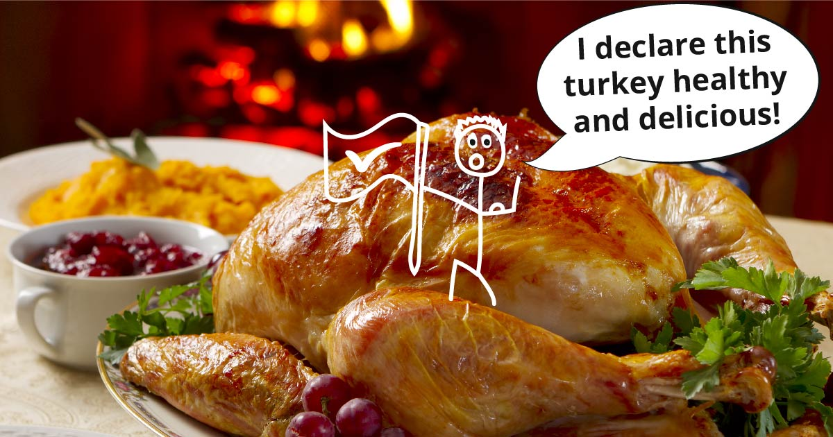 A cartoon figure plants a flag on a turkey and says, I declare this turkey healthy and delicious!