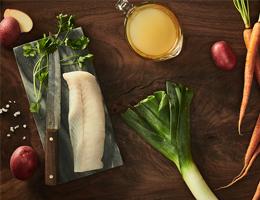 Braised cod with leeks